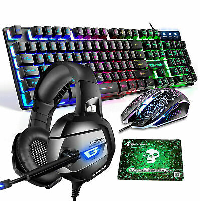 AU 4in1 For PS4 Xbox Gaming Keyboard and Mouse Headset Combo Rainbow Backlit T6
