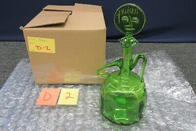 Blenko Hand Blown Green Art Glass Decanter Jar Stopper Face 1965 Vintage Woman