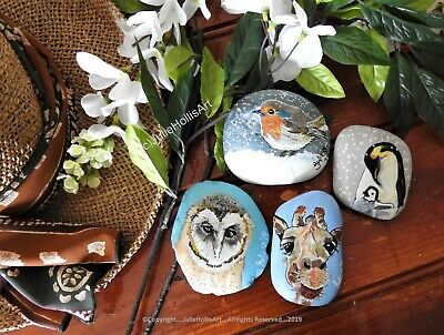 Painted Pet Rocks - Hand Painted Hand Size Stones - Various Animals