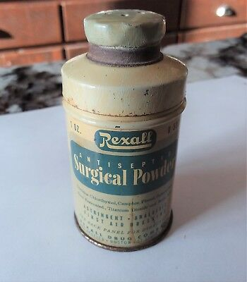 Vintage Rexall Antiseptic Surgical Powder Tin Can