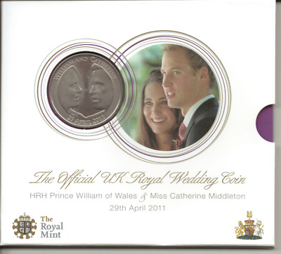 UNITED KINGDOM - THE OFFICIAL ROYAL WEDDING 5 POUND COIN in folder