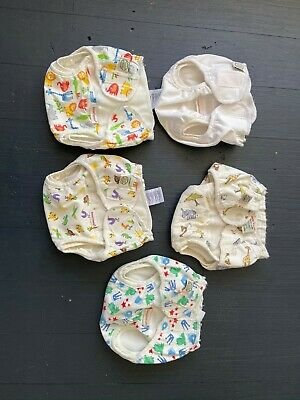 5 Imse vimse organic cotton nappy covers  - size 4 x medium 1 x newborn