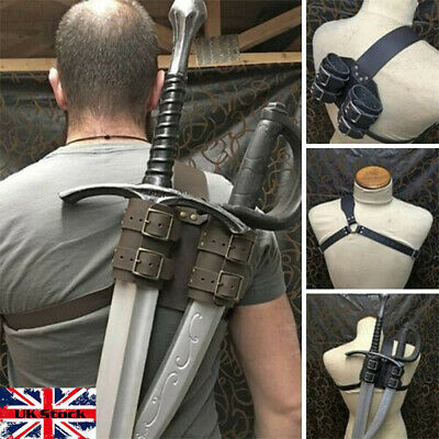 Luxury Double Leather Back Scabbard Sword Holder Medieval Warrior Cosplay LARP