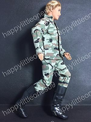 Ken Doll Army Man Military Outfit Clothes Uniform Suit &Soldier Boots Barbie New