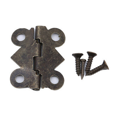 Vintage Wooden Small Butterfly Door Hinges Bronze Cabinet Drawer Jewelry Box WS