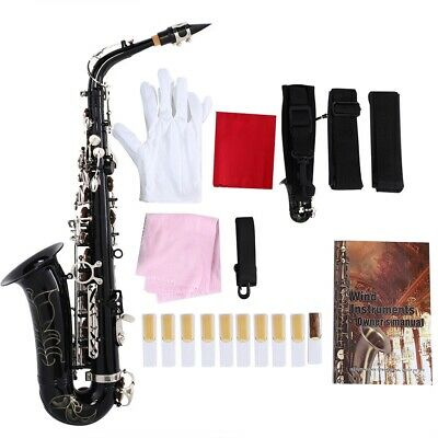 LADE Brass Eb Alto Saxophone Sax Carved Pattern Pearl Black Shell Buttons NEW
