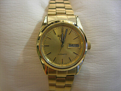 New Seiko 5 Round Women Automatic Dress Watch Beige Dial Gold Plated