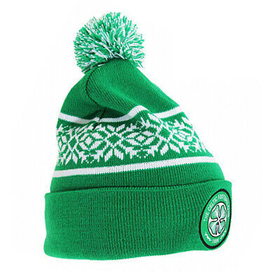 New Official Celtic Fc Snowflake Cuff Knitted Bobble Hat Emblem On Cuff