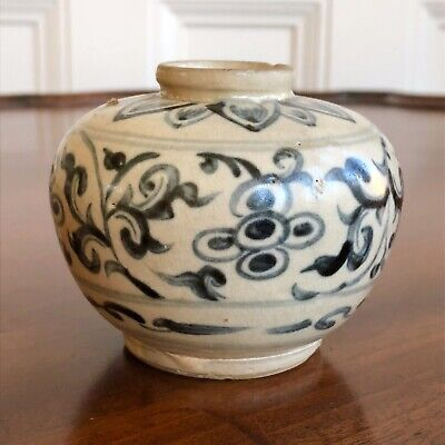 An Antique Small Squat Shaped Chinese Pottery Blue Painted Jar, Qing. 7cm.
