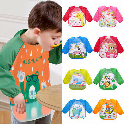 Baby Kid Toddler Feeding Bibs Long Sleeve Plastic Burp Smock Apron Cartoon Print