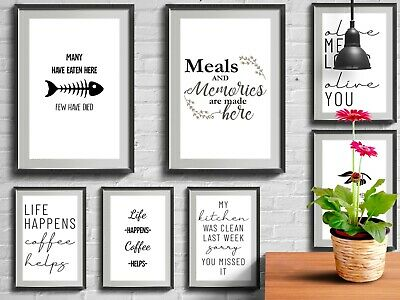 Kitchen Prints Funny Quotes Wall Word Art Poster Framed Home Gift Decor A6 A5 A4