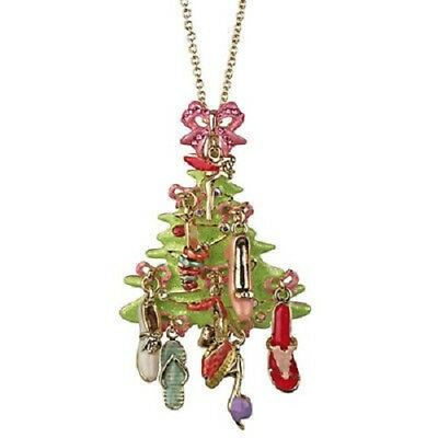 New Kirks Folly Fairy Shoe Christmas Tree Pin / Pendant  With Chain Goldtone
