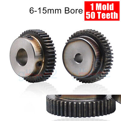 50T Mod1 Steel Pinion Gear With Set Screw 6-15mm Bore Straight Tooth Spur Gears