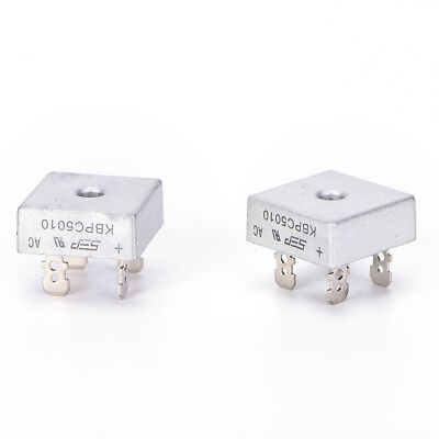 2x  KBPC5010 50A 1000V Metal Case Single Phases Diode Bridge Rectifier In SP