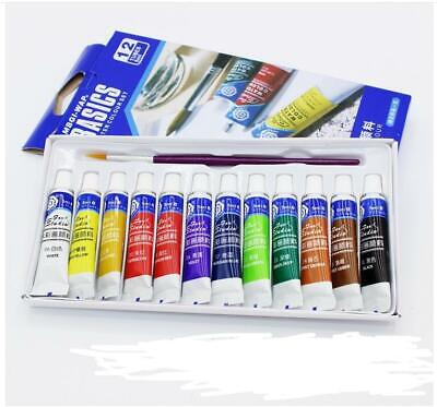 12 Colors ACRYLIC PAINTS SET Assorted Colours Water Based Art Crafting School