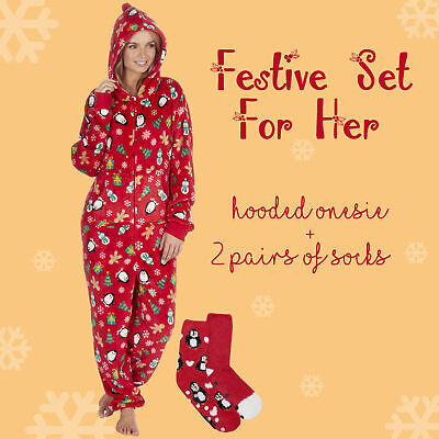 Ladies 1Onesie Fesive Xmas Outfits with 2 Pairs Fluffy Socks Set Christmas Gift