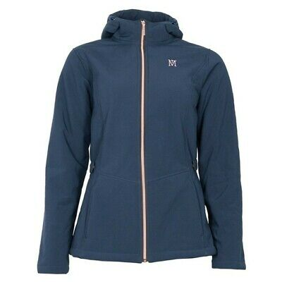 NEW! Mark Todd Ladies Softshell Fleece Lined Jacket Hooded Navy & Rose Gold S-XL