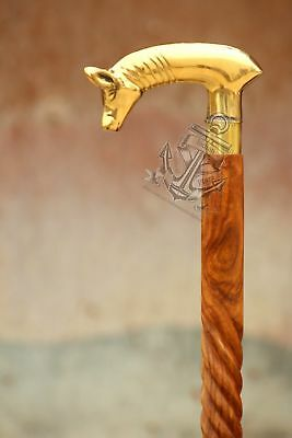 Solid Brass Unique Pig Head Victorian Walking Stick Cane Wooden 36'' Style Gift