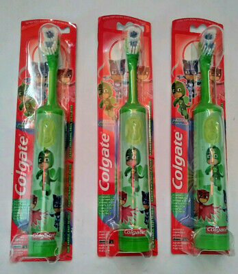 (3) Colgate PJ Masks OWLETTE Powered Toothbrush Green Kids Children Oral Care