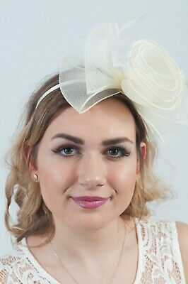 Cream Bow Fascinator Fascinators Hair Accessories Wedding Guest Race Day Hats