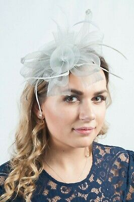 Silver Grey Ladies Fascinator Hatinator Headpiece Fascinators Wedding Race Days