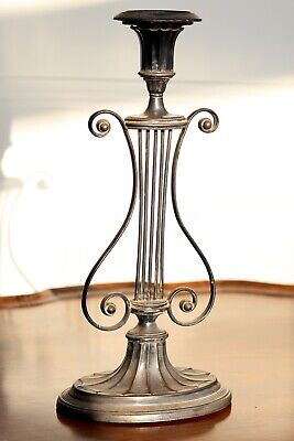 A Large Regency Old Sheffield Silver Plated Lyre Shaped Candlestick, c.1800.