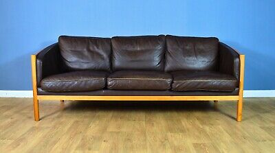 Mid Century Retro Danish Stouby Brown Leather & Cherry Wood 3 Seat Sofa 1970s