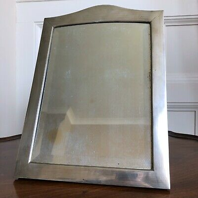 A Large Antique Continental Silver Table Top Mirror, c.1910. Bevelled Mirror.