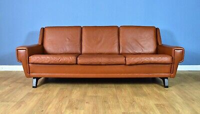 Mid Century Retro Vintage Danish Tan Brown Leather 3 Seat Sofa Settee 1960s 70s