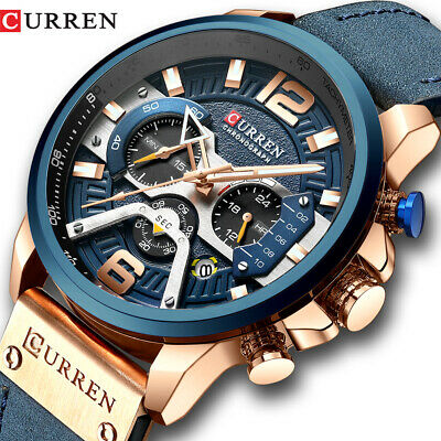 CURREN Men's Sport Military Leather Wristwatch Brand Fashion Chronograph Watches