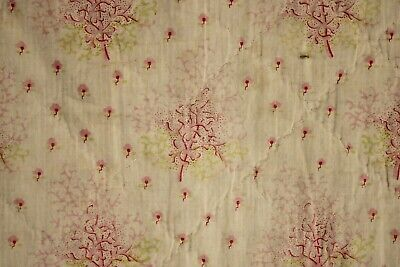 LARGE KING antique quilt French boutis textile PINK coral design Large BEDDING