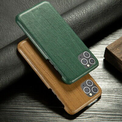 For iPhone 11 Pro Max XS XR 8 7 Plus Hybrid PU+PC Retro Wood Texture Case Cover