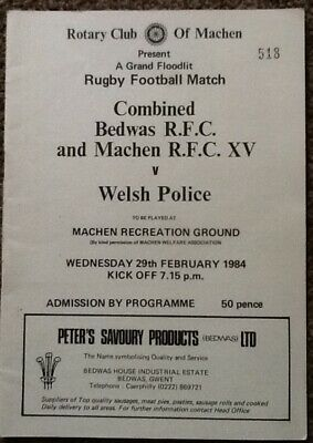 Signed Autographs 1984 BEDWAS & MACHEN XV v WELSH POLICE (Wales Internationals)