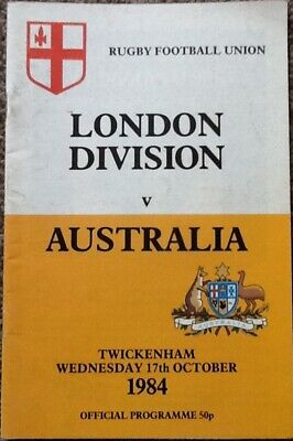 Signed Autographs - 1984 LONDON DIVISION v AUSTRALIA - (England Internationals)