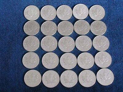 Roll of 25 2011 Canadian $5 Maple Leaf Silver Coins/.9999/Gem Uncirculated