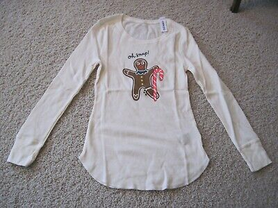 NEW Old Navy Oh Snap Gingerbread Man Thermal Long Sleeve Pajama Top Women's M
