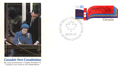 1982 #916 Canada's New Constitution FDC with Fleetwood cachet