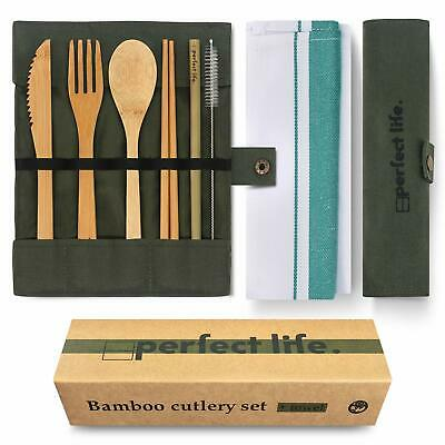 Bamboo Wooden Cutlery Set Spoon Fork Cutting Kitchen Reusable Tool Y4Q7