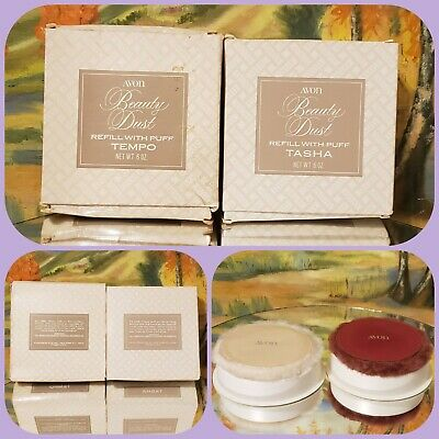 2 New Vintage Avon Beauty Dust Refills w/ Puffs TASHA & TEMPO Fragranced Powder