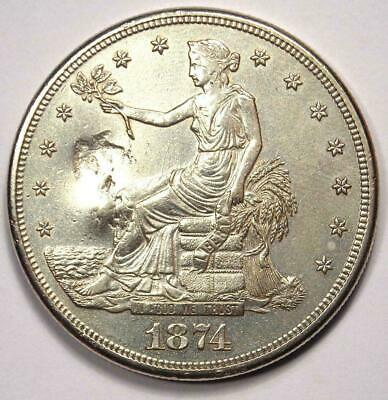 1874-S Trade Silver Dollar T$1 - Excellent Condition with Chop Marks - Rare Coin