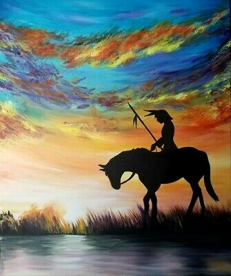 Sunrise Native American Acrylic Painting On Stretched Canvas covered with resin