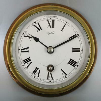 SMALL SESTREL SHIPS CLOCK brass bulkhead wall clock 8 DAY GOOD WORKING ORDER