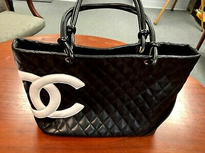Authentic CHANEL Cambon Line Medium Tote Bag Black White Pink Leather