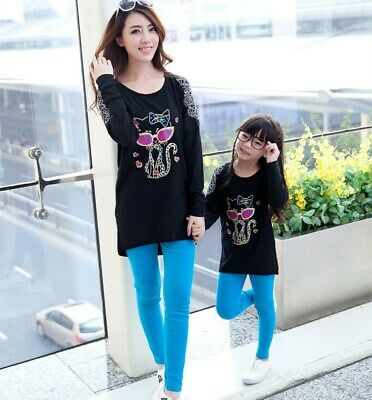 New Family Matching clothes T-Shirt + Leggings girls  size 6-7 Years