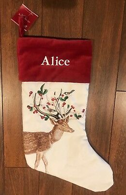 """POTTERY BARN SILLY STAG STOCKING Deer CHRISTMAS Embroidered  """"ALICE"""" NWT"""