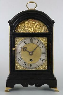 RARE SMALL GEORGIAN FUSEE BRACKET CLOCK 8 day ebonised case, ormolu decoration