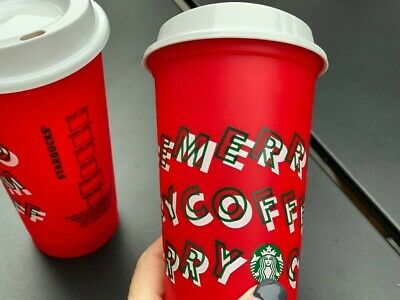 Starbucks Holiday Christmas 2019 Red and White Reusable Cup w/ Lid FREE Stickers