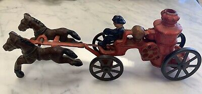 Antique Cast Iron Toy. Horse Drawn Fire Truck.