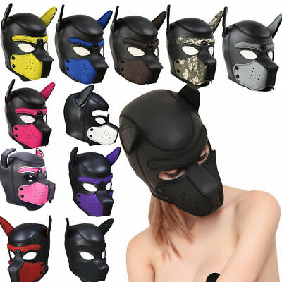 Party Masks Pup Puppy Play Dog Hood Mask Padded Latex Rubber Role Play Cosplay