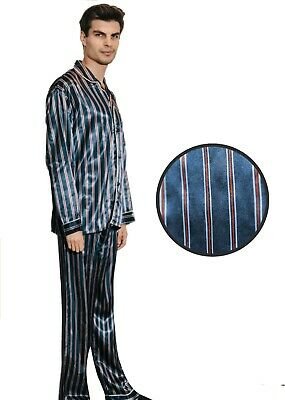 Mens Silk Satin Striped Pajama Set - PJ